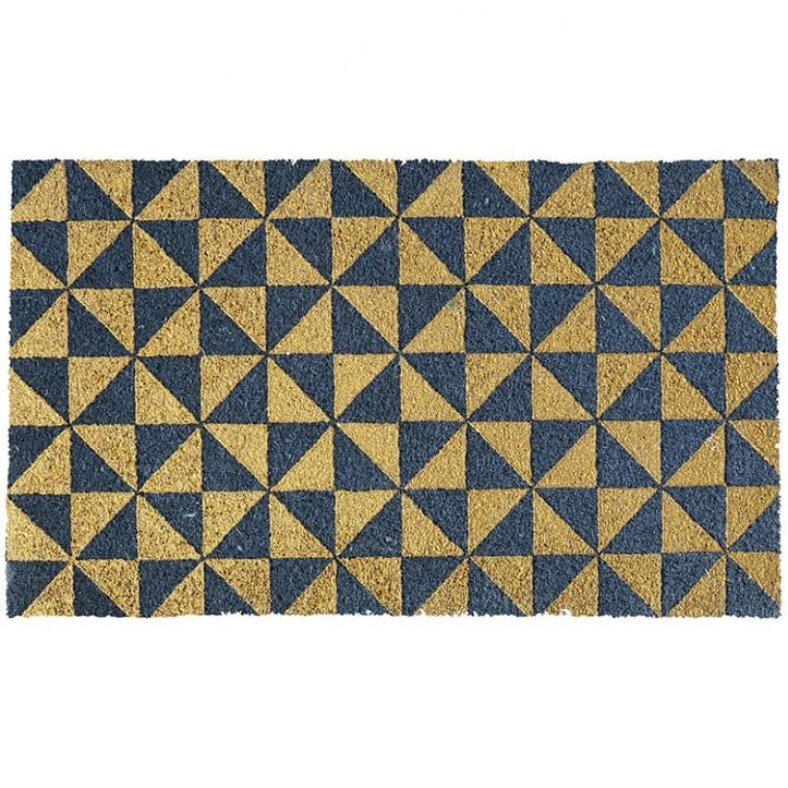 Gold Triangles Doormat, 75 x 45cm