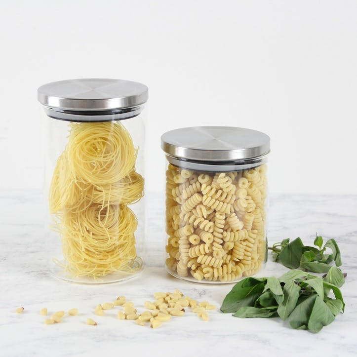 Brushed Stainless Steel Topped Storage Jars, Set of 2