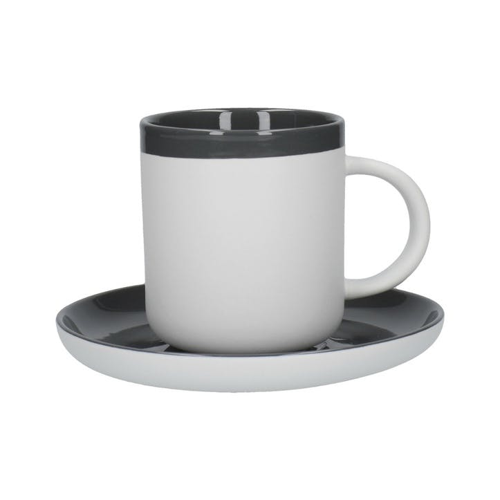 Barcelona Espresso Cup and Saucer, Grey