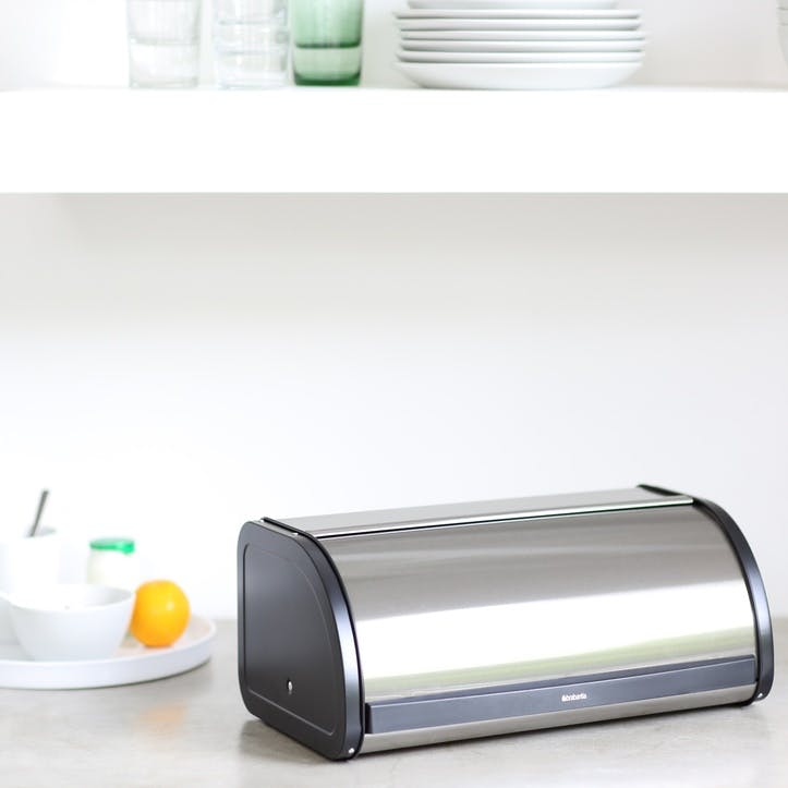 Roll Top Bread Bin, Brilliant Steel