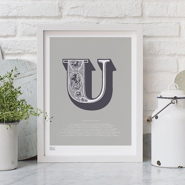 Illustrated Letter U Screen Print, 30cm x 40cm, Putty