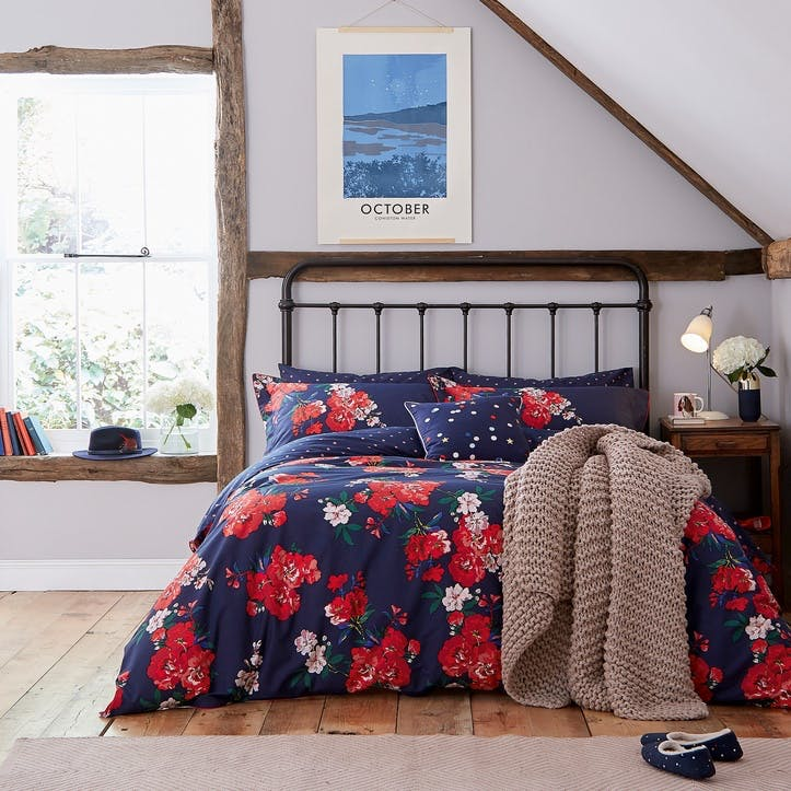 Beau Floral King Duvet Cover, French Navy
