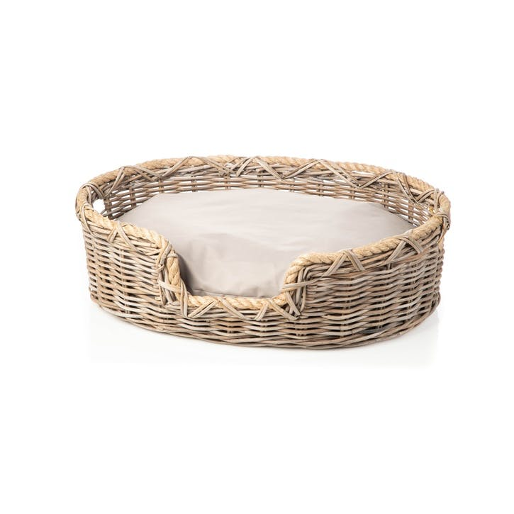 Rattan Oval Dog Basket, M