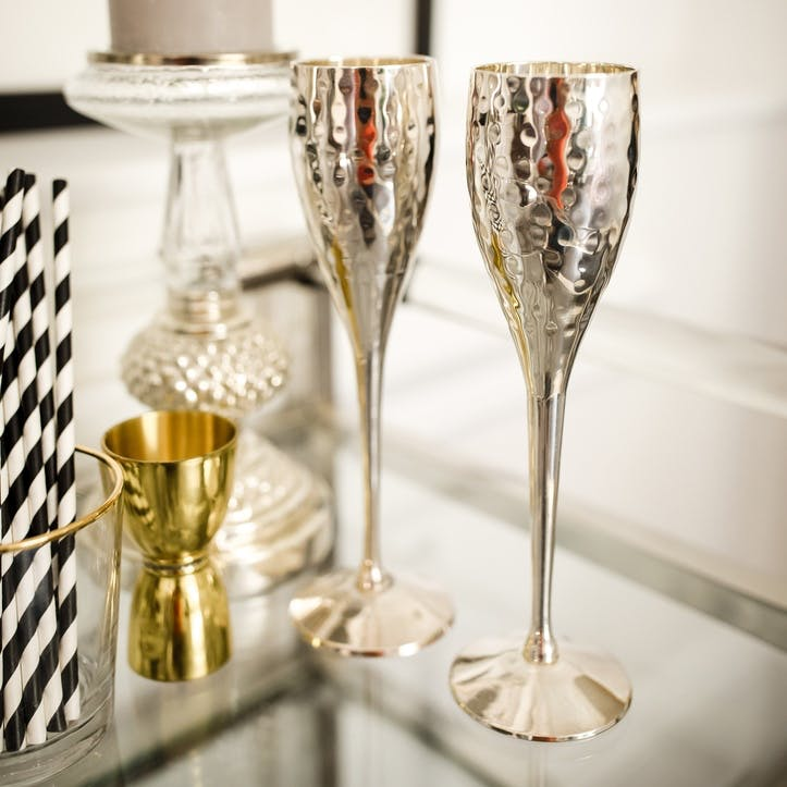 Pair of Silver Plated Champagne Goblets