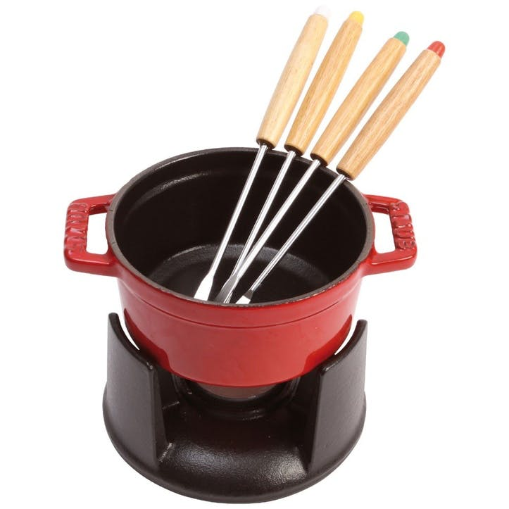Cast Iron Mini Fondue Set, Cherry
