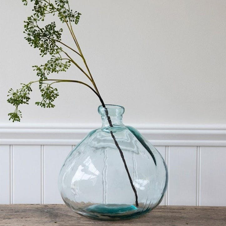 Wells Recycled Glass Wide Bubble Vase