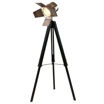 Hereford Film Floor Light; Black & Antique Brass