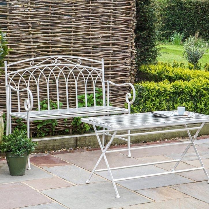 Lazzaro Outdoor Bench, White