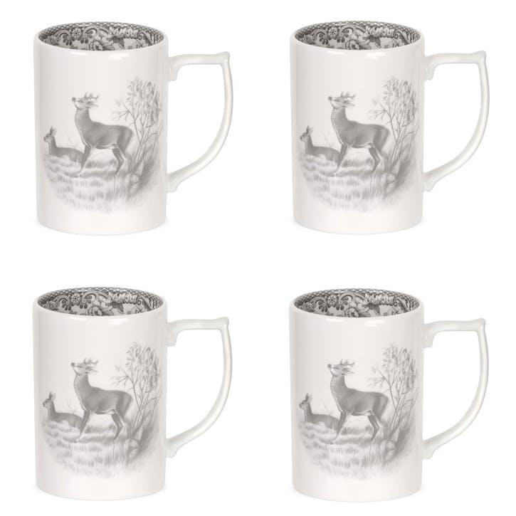 Delamere Rural Deer Mugs, Set of 4