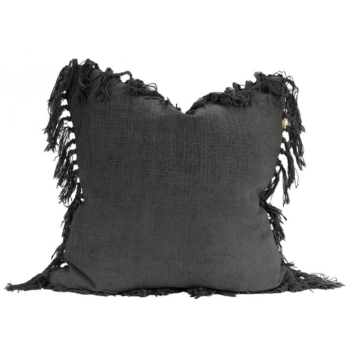 Jute Tassel Cushion, Charcoal
