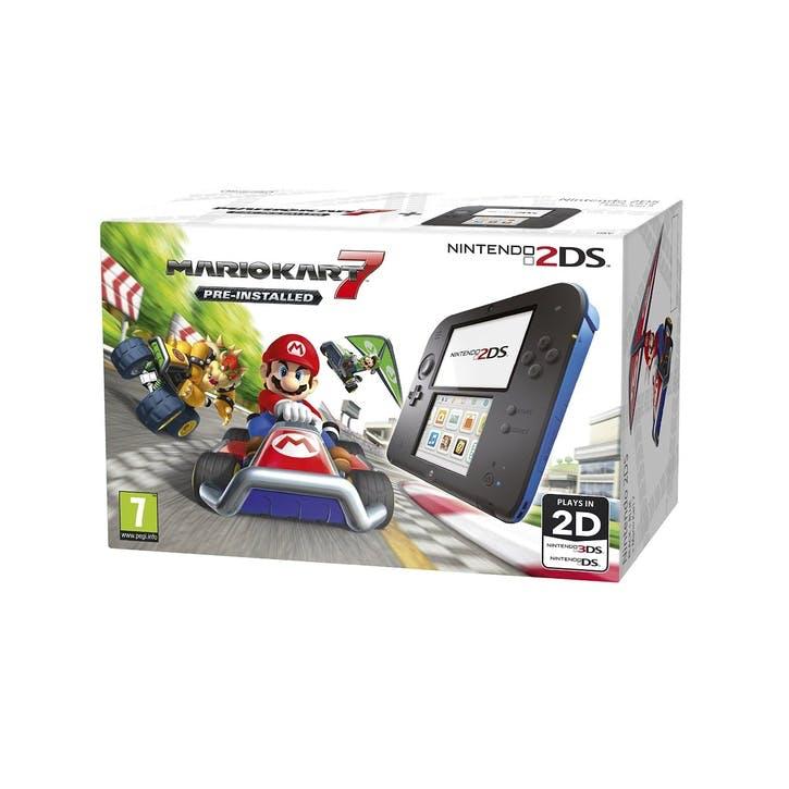 Nintendo 2DS Black + Blue Bundle, w/ Mario Kart 7