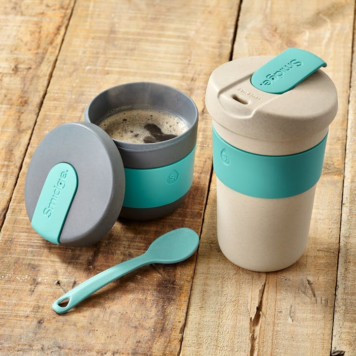 Natural Collection Coffee Cup, 400ml, Sand & Aqua