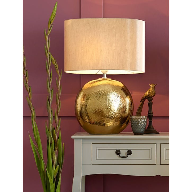 Alpha Textured Ceramic Table Lamp; Bronze