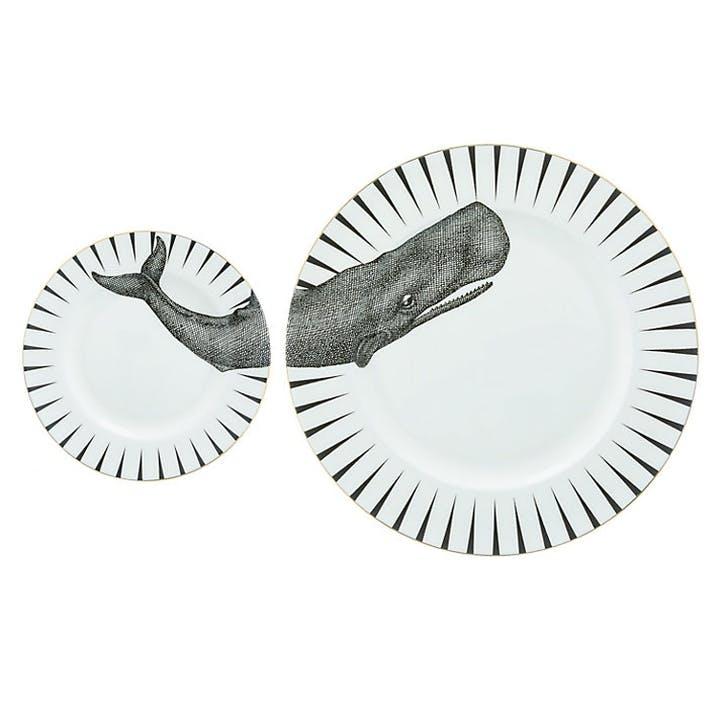 Monochrome Whale of a Time Plate Set