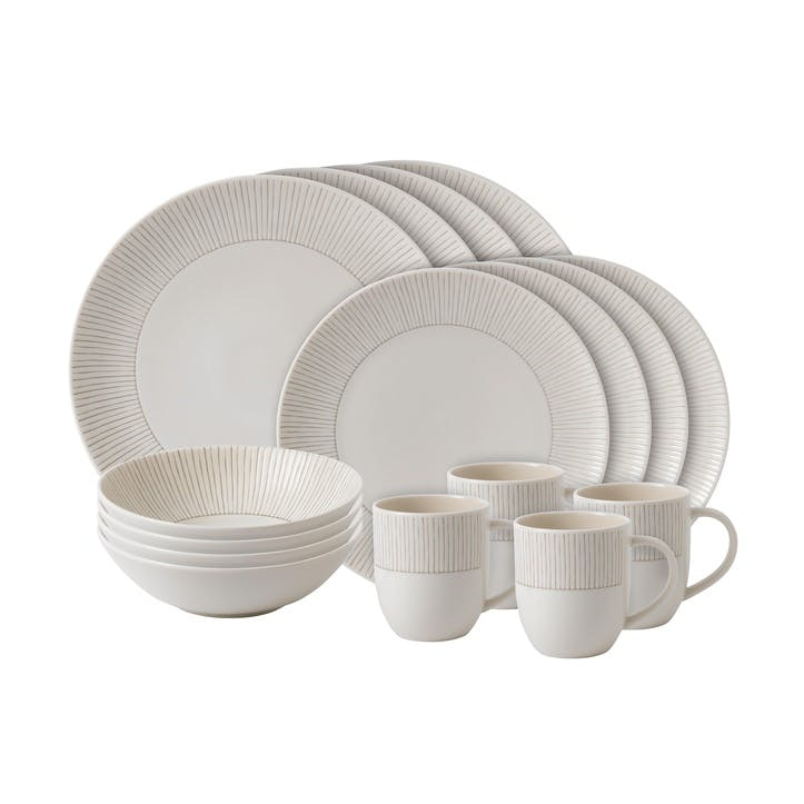 ED Ellen DeGeneres 16 Piece Dinner Set, Taupe Stripe
