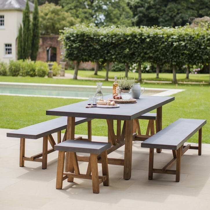 Chilson Table and Bench Set, Large, Cement Fibre