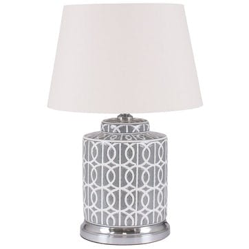 Aris Geo Pattern Table Lamp - Short; Grey & White