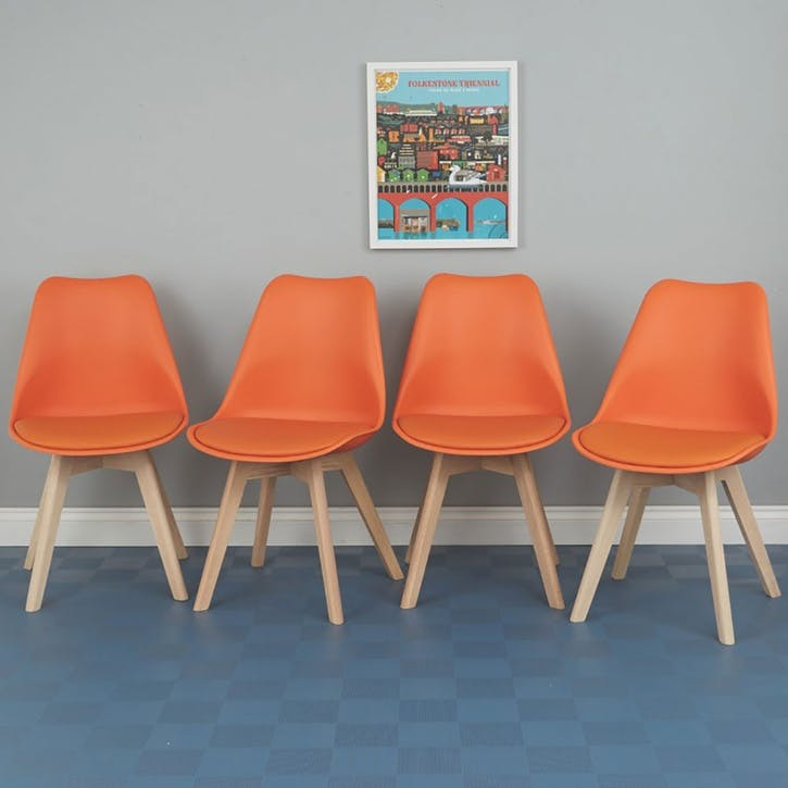 Jerry Set of 4 Dining Chairs, Orange