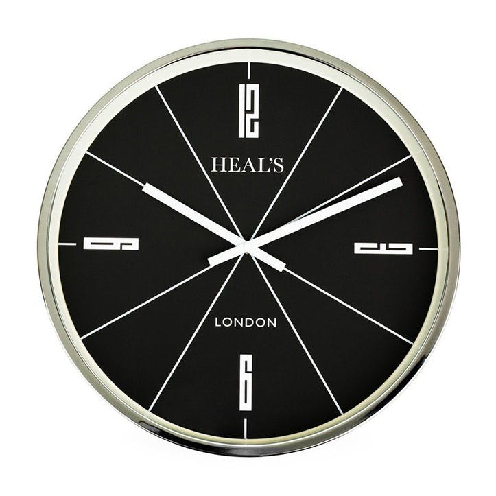 Retro Wall Clock, 45cm, Black & Aluminium