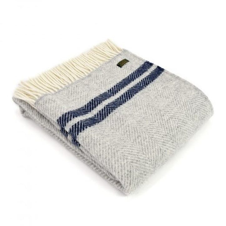 Fishbone 2 Stripe Throw; Silver Grey & Navy