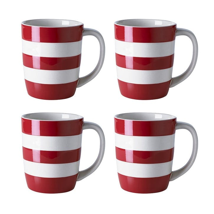 Cornish Red Mugs 12oz, Set of 4
