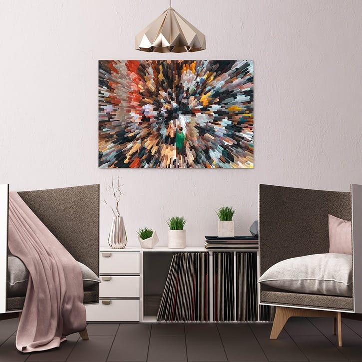 Abstract Colorful Particle ChromaLuxe Metal Print, H51 x W76cm, Multi