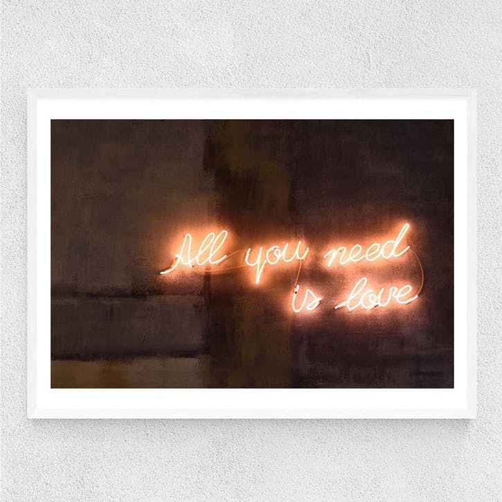Honeymoon Hotel, All You Need Is Love, Framed Art Print, H61 x W44 x D2cm, White