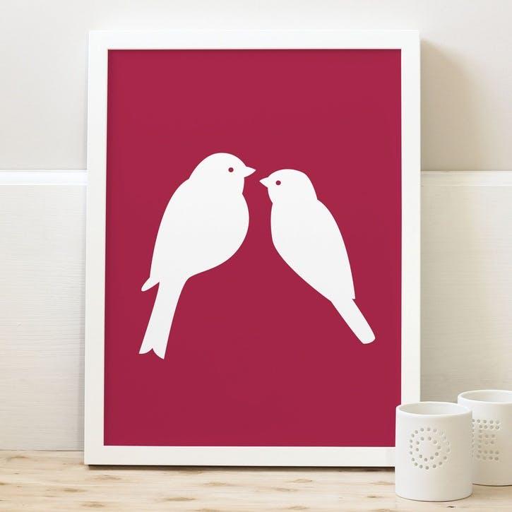 'Love Birds' Print, A3, Cranberry