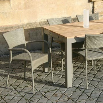 Rollo Outdoor Dining Armchair, Set of 2; Soft Grey