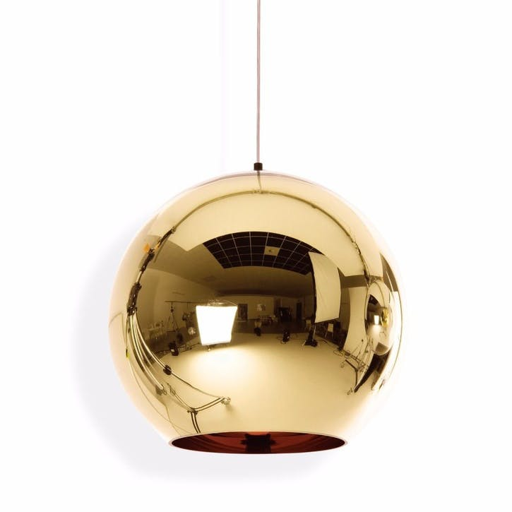 Copper Round Pendant Light - 45cm; Bronze