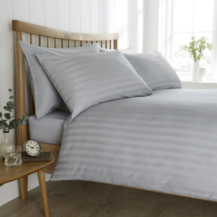 Heritage Sateen Stripe Bedding Set, Super King, Grey