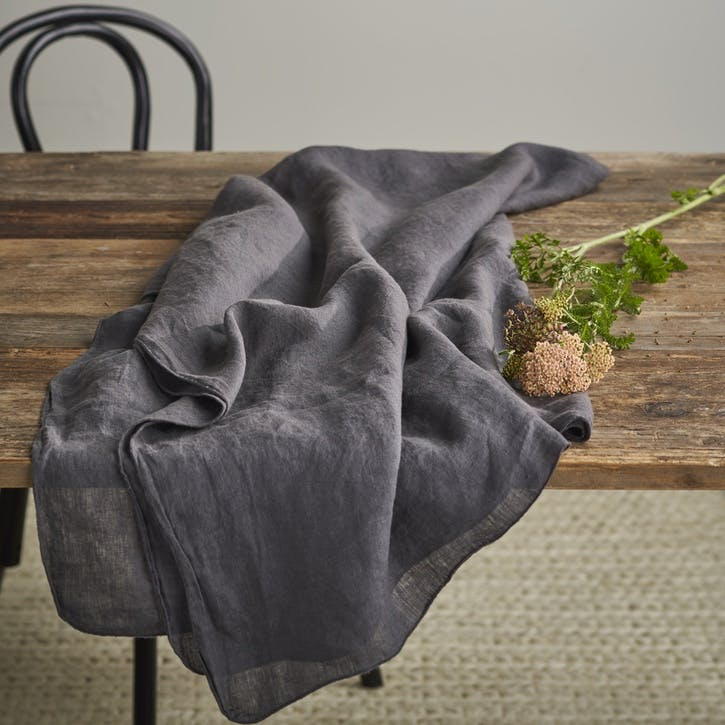Jewel Linen Tablecloth; Shadow Grey