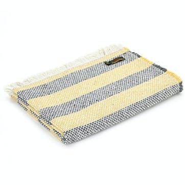 Recycled Crosshatch Stripe Rug; Lemon & Charcoal