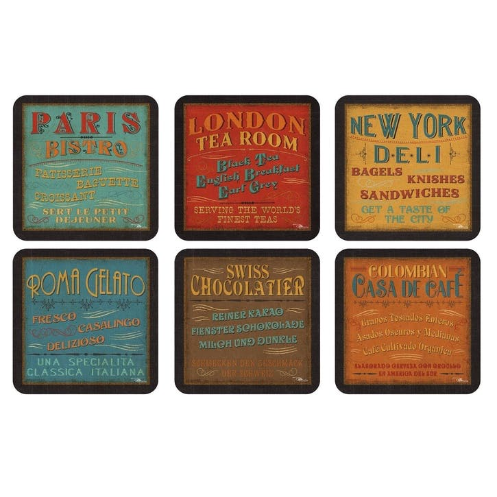 Lunchtime Coasters, Set of 6