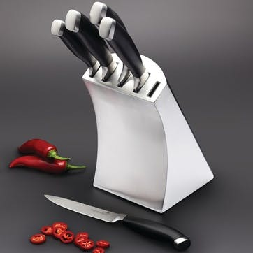 Trojan 5 Piece Knife Set and Stainless Steel Block