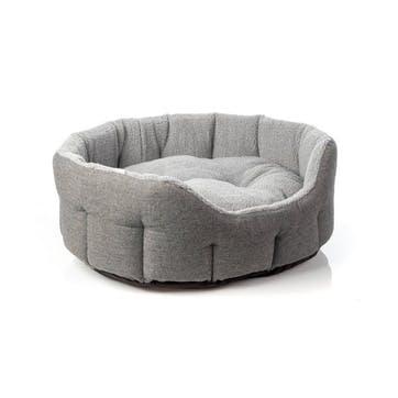 Herringbone Tweed Oval Pet Bed, L, Grey