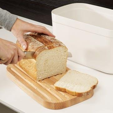 Bread Bin with Bamboo Cutting Board Lid; White