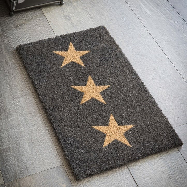 Doormat 3 Stars, Small in Charcoal, Coir