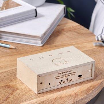 Flip Click Alarm Clock, White Maple