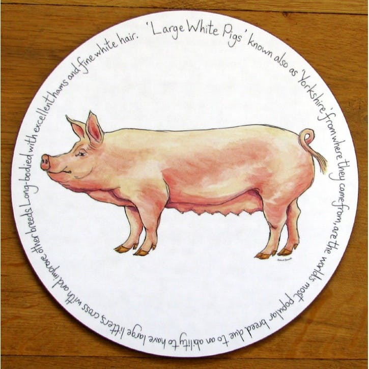 Large White Pig Tablemat - 28cm