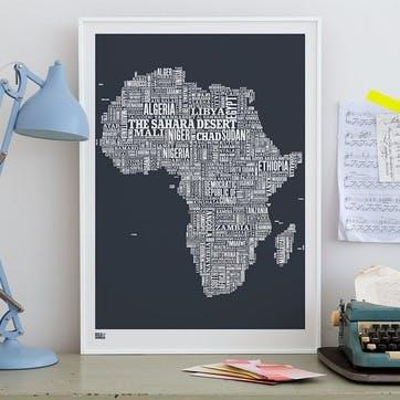 Type Map Screen Print Africa, 50cm x 70cm, Sheer Slate