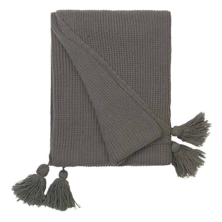 Cotton Knit Tasselled Throw, Grey