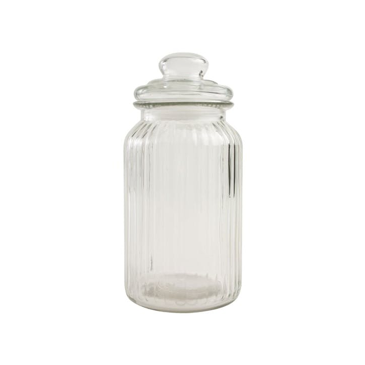 Ribbed Glass Jar, Large