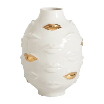 Gilded, Muse Gala Round Vase, White, H25 x D15cm