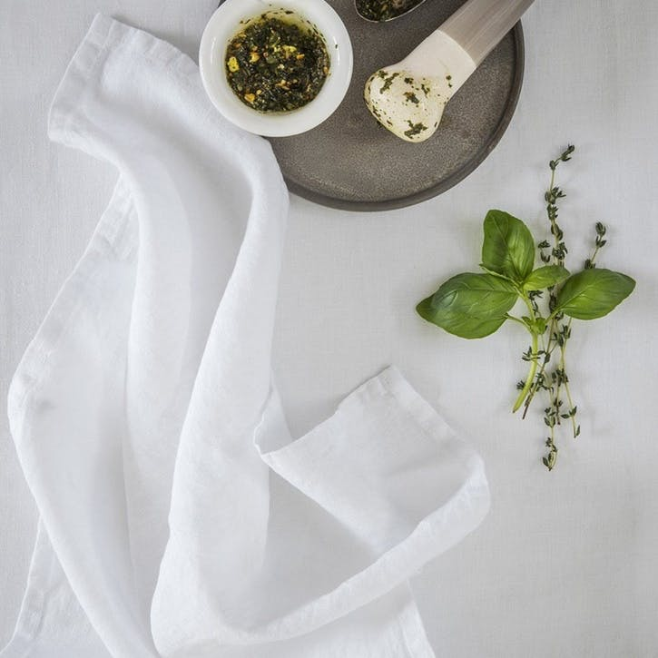 Linen Tea Towel, White