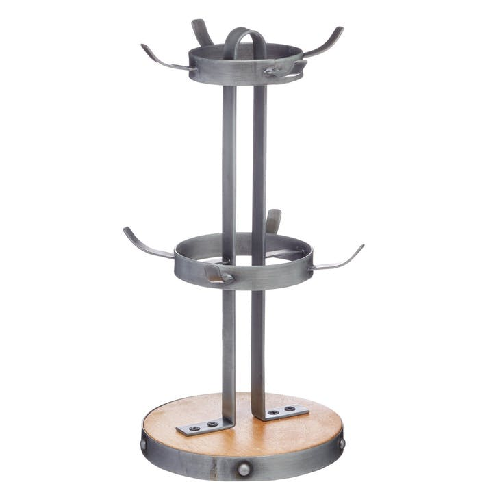 Industrial Kitchen Metal / Wooden Mug Tree Stand