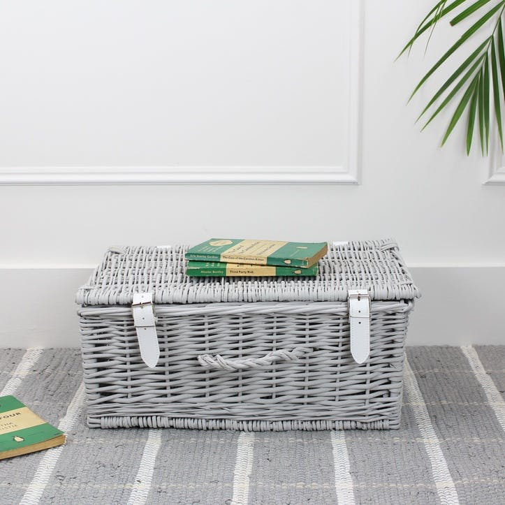 Wicker Hamper - 18 Inch; Light Grey
