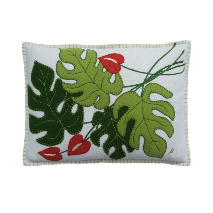 Tropical Cheese Plant Cushion, Cream