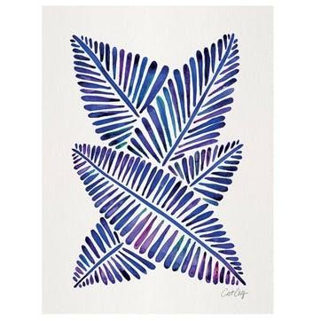 Cat Coquillette Indigo Banana Leaves Canvas - 30 x 40cm
