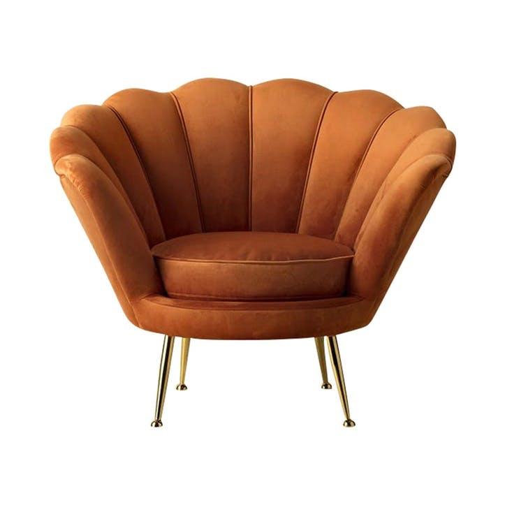 Marldon Velvet Armchair, Orange